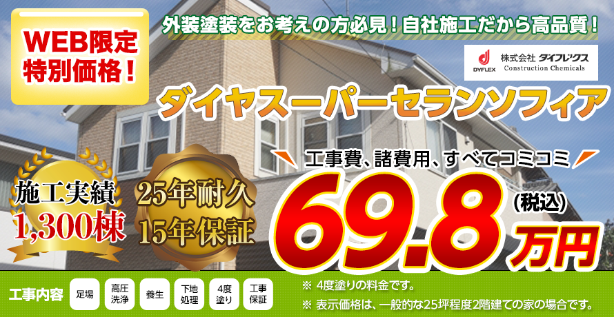 新潟市の外壁塗装 超耐候・超程汚染無機塗料 25年耐久